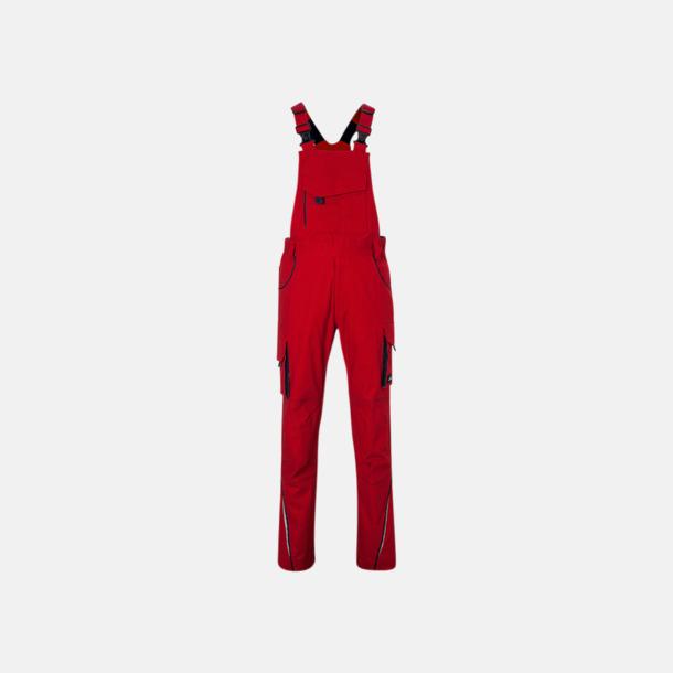 Röd / Marinblå Moderna arbetshängselbyxor från J&N med reklamtryck