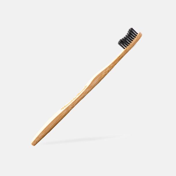 Svart borst (vuxen) Miljövänliga tandborstar i kartong med eget tryck