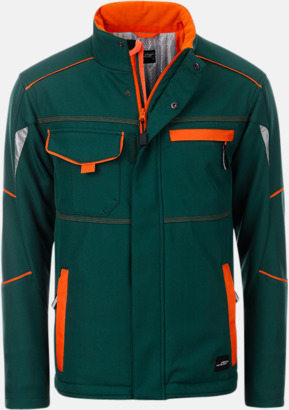 Mörkgrön / Orange Arbetsjackor i vadderad softshell med reklamtryck