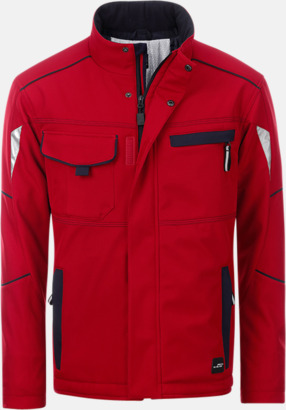 Röd / Marinblå Arbetsjackor i vadderad softshell med reklamtryck
