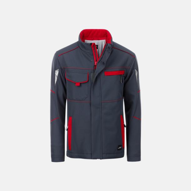 Carbon/Röd Arbetsjackor i vadderad softshell med reklamtryck