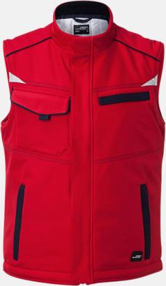 Röd / Marinblå Fodrade softshell-arbetsvästar med reklamtryck