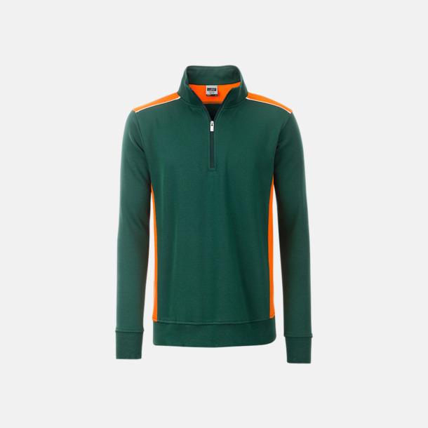 Mörkgrön / Orange Arbets sweatshirts med reklamtryck