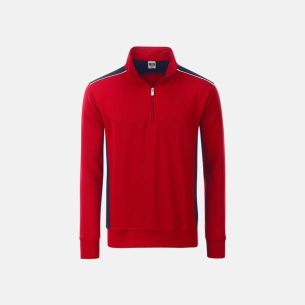 Röd / Marinblå Arbets sweatshirts med reklamtryck