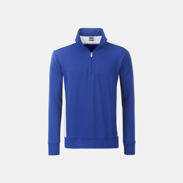Royal/Vit Arbets sweatshirts med reklamtryck