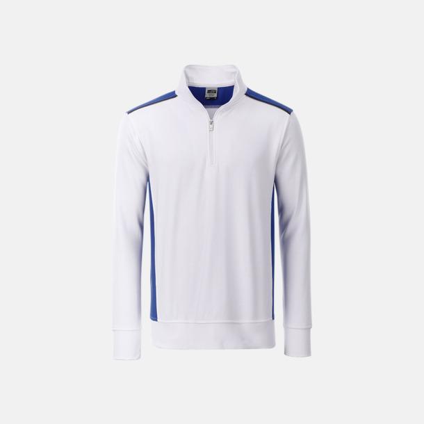 Vit/Royal Arbets sweatshirts med reklamtryck