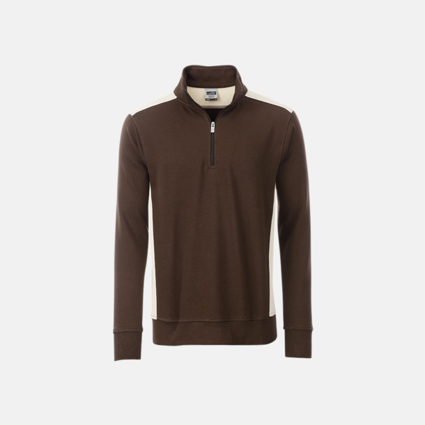 Brun/Stone Arbets sweatshirts med reklamtryck