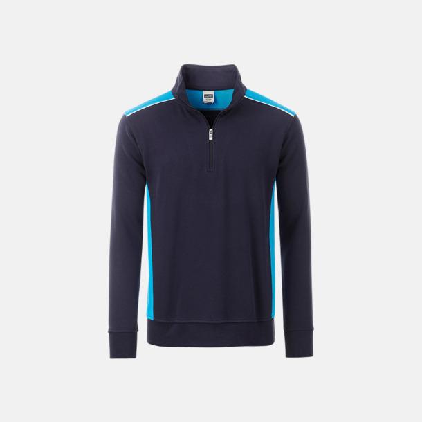 Marinblå / Turkos Arbets sweatshirts med reklamtryck