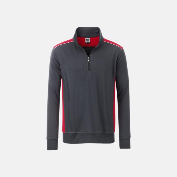 Carbon/Röd Arbets sweatshirts med reklamtryck