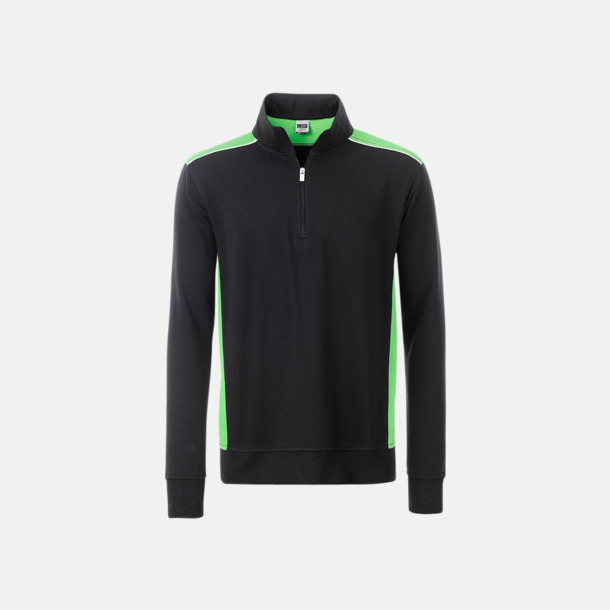 Svart / Limegrön Arbets sweatshirts med reklamtryck