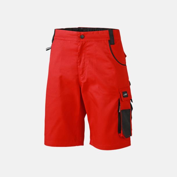 Röd/Svart Arbetsshorts med reklamtryck eller bordyr
