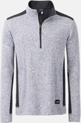 Vit Melange/Carbon Arbets stickade fleecetröjor i herrmodell med reklamtryck