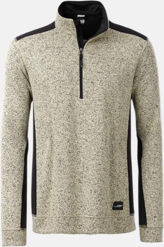 Stone Melange/Svart Arbets stickade fleecetröjor i herrmodell med reklamtryck