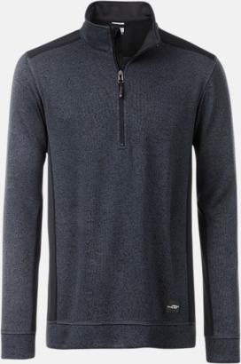 Carbon Melange/Svart Arbets stickade fleecetröjor i herrmodell med reklamtryck