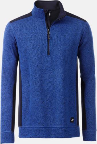 Royal Melange/Marinblå Arbets stickade fleecetröjor i herrmodell med reklamtryck