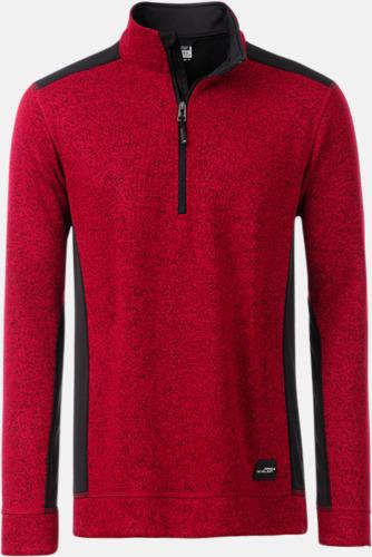 Röd Melange/Svart Arbets stickade fleecetröjor i herrmodell med reklamtryck