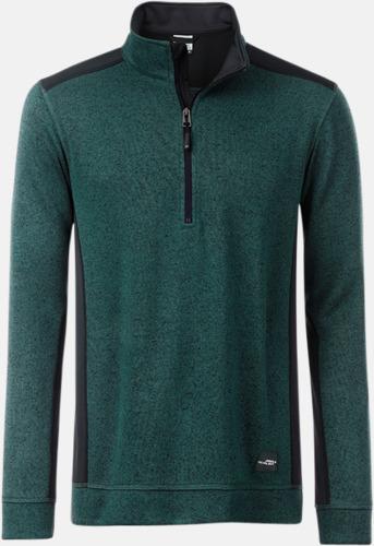 Mörkgrön Melange/Svart Arbets stickade fleecetröjor i herrmodell med reklamtryck
