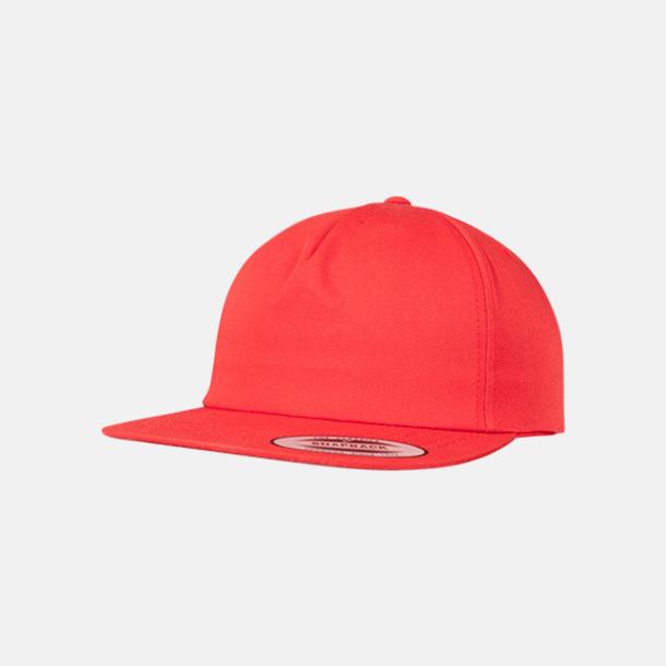 Röd Flexfit-kepsar utan struktur med reklamtryck