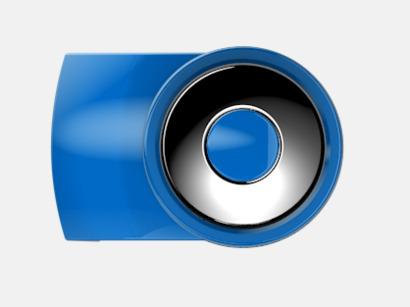 Medium Blue Vita bläckpennor med färgade tryckknappar med reklamtryck