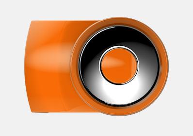 Orange Vita bläckpennor med färgade tryckknappar med reklamtryck
