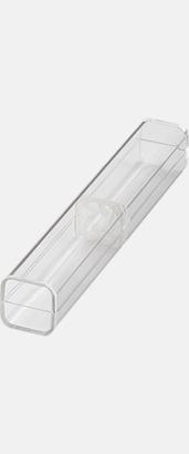 Enkelt plastfodral (se tillval) Vita bläckpennor med färgade tryckknappar med reklamtryck
