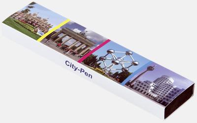 Plast slipcase EVA digital 1 (se tillval) Vita bläckpennor med färgade tryckknappar med reklamtryck