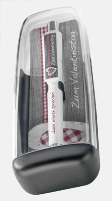 Plastfodral inlägg 1 (se tillval) Vita bläckpennor med färgade tryckknappar med reklamtryck