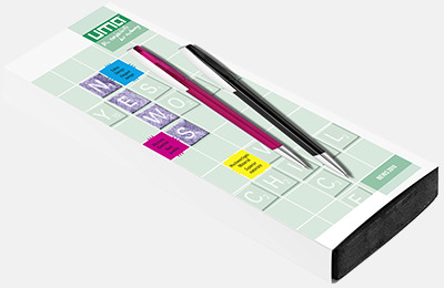Plast slipcase EVA digital 2 (se tillval) Pennor med större gemklips - med reklamtryck