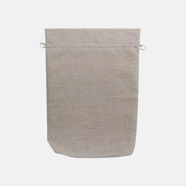 Ljusgrå Säckar i lin med reklamtryck