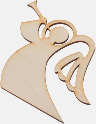 Ängel med trumpet Julgranshängare i trä med reklamtryck