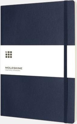Indigo Blue Moleskine extra stora, mjuka notisböcker i 3 utföranden med reklamtryck