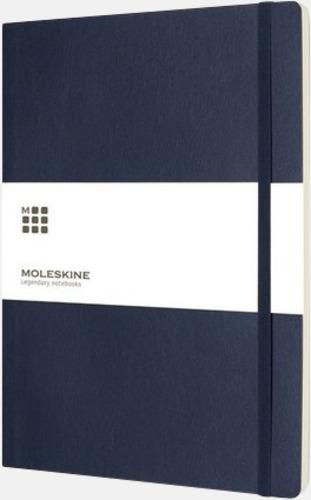 Mörkblå (plain) Moleskine extra stora, mjuka notisböcker i 3 utföranden med reklamtryck