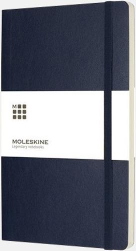 Mörkblå (plain) Moleskine mjuka notisböcker i 3 utföranden med reklamtryck