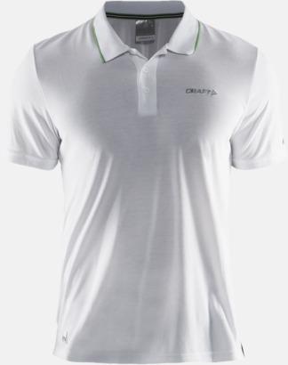 Vit Herr (Logga bröst) Pikétröjor från Craft i herr- och dammodell med reklamtryck