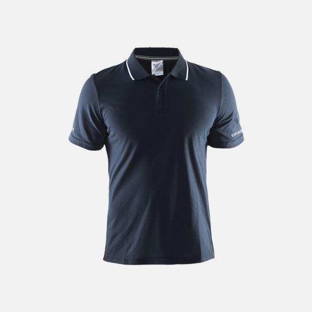 Dark Navy/Vit (herr) Pikétröjor från Craft i herr- och dammodell med reklamtryck