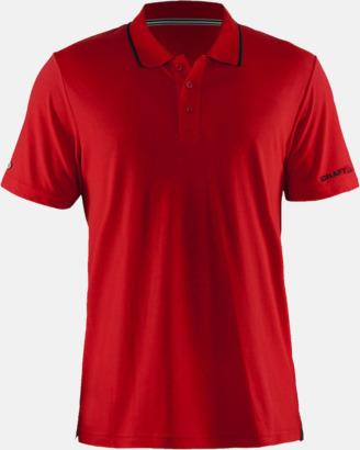 Bright Red/Svart Herr (Logga ärm) Pikétröjor från Craft i herr- och dammodell med reklamtryck