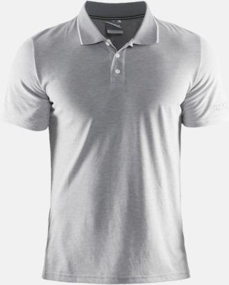 Grey Melange/Vit Herr (Logga ärm) Pikétröjor från Craft i herr- och dammodell med reklamtryck