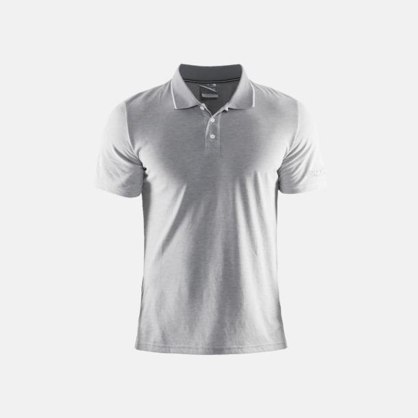 Grey Melange/Vit (herr) Pikétröjor från Craft i herr- och dammodell med reklamtryck