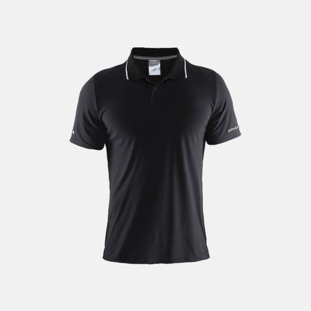 Svart/Vit (herr) Pikétröjor från Craft i herr- och dammodell med reklamtryck