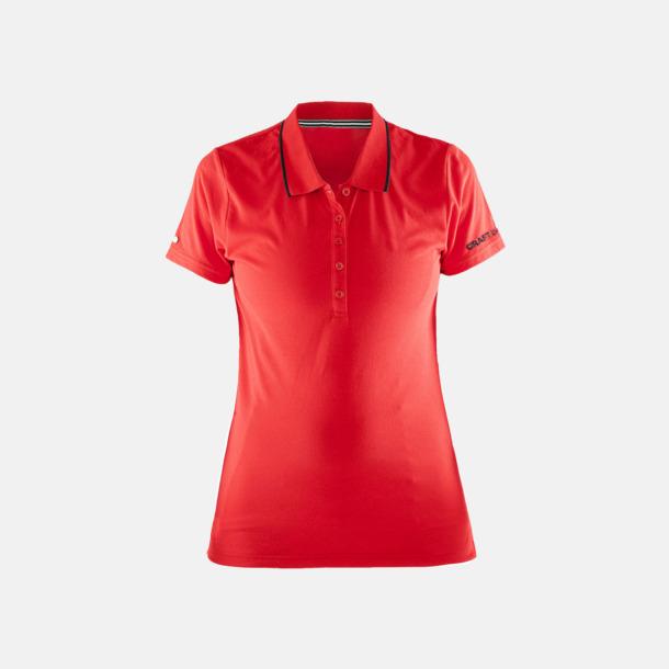 Bright Red/Svart Dam (logga ärm) Pikétröjor från Craft i herr- och dammodell med reklamtryck