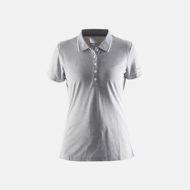 Melange Grey/Vit (dam) Pikétröjor från Craft i herr- och dammodell med reklamtryck