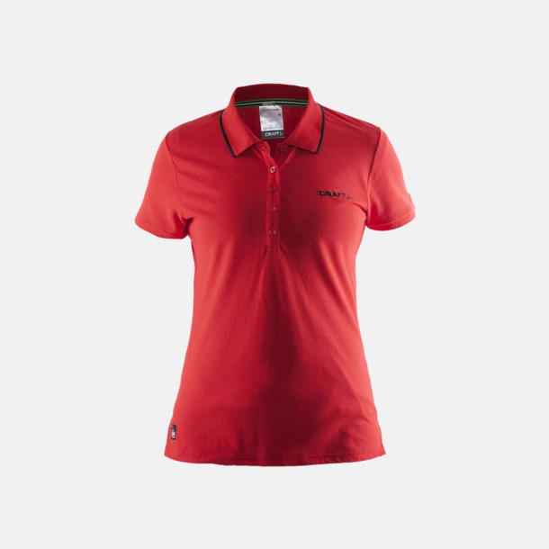 Bright Dam Red (logga bröst) Pikétröjor från Craft i herr- och dammodell med reklamtryck