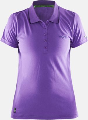Lilac Dam (logga bröst) Pikétröjor från Craft i herr- och dammodell med reklamtryck