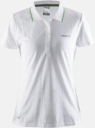 Vit Dam (logga bröst) Pikétröjor från Craft i herr- och dammodell med reklamtryck