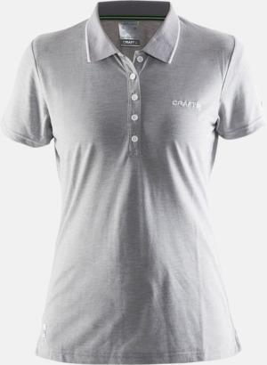 Grey Dam Melange (logga bröst) Pikétröjor från Craft i herr- och dammodell med reklamtryck
