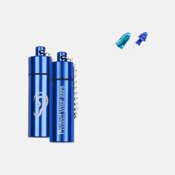 Blå Öronproppar i aluminiumrör med reklamtryck