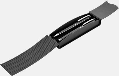 Magnetstängning svart (öppen) Bläck- & styluspenna i metall med reklamlogo