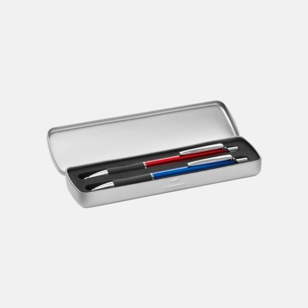 Metalletui 2 silver (öppen) Metallpennor i soft touch-hölje med reklamlogo