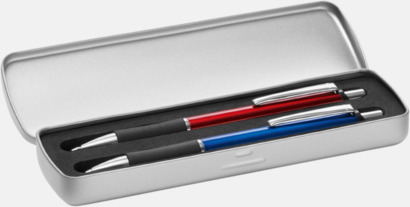 Metalletui 2 silver (öppen) Mjukare metall-stiftpennor med 360° gravyrlogga