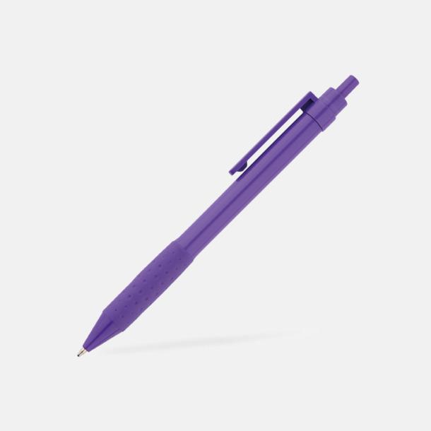Lila Färgglada plastpennor med reklamtryck
